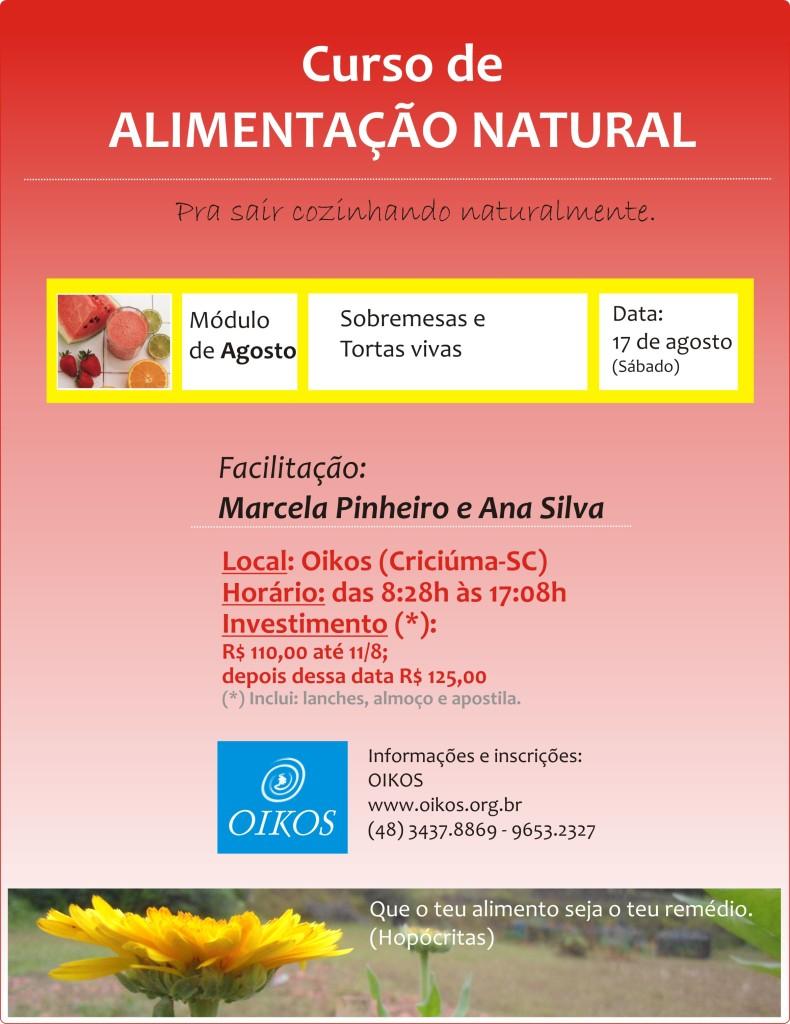"""Dia 17 de agosto, curso de """"Alimentação natural"""""""