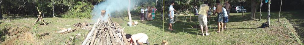Uma panoramica do local onde foi realizado o Temazcal